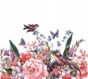 D-076 Птицы на цветах 300х270 Цветы
