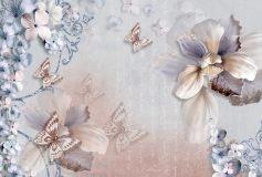 T-018 Бабочки на цветах 400х270 Цветы