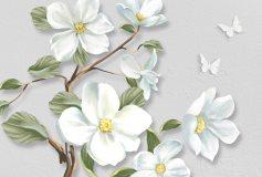 T-033 Белые цветы на ветке 400х270 Цветы
