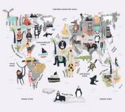 T-123 Карта мира с животными 300х270 Детство
