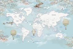 T-125 Карта мира с шарами 400х270 Детство