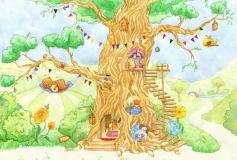 T-229 Сказочное дерево с животными 400х270 Детство