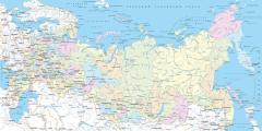 L-087 Карта Российской Федерации Регионы и крупные города  200х100 Карты