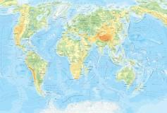 L-082 Физическая карта мира 400х270 Карты