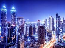 H-090 Вид на ночной город 200х147 Мегаполис