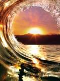 E-001 Волна на закате 200х270 Море - Океан