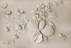 K-005 Барельеф цветы на стене 400х270 Объемные