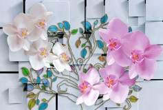 L-057 Орхидеи и витражные веточки 400х270 Объемные