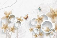T-028 Бежевые цветы на мраморном фоне 400х270 Объемный