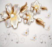 T-029 Белые бабочки с цветами 300х270 Объемный