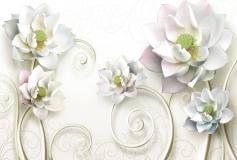 T-034 Белые цветы с вензелями 400х270 Объемный