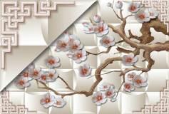 T-052 Ветви с цветами 400х270 Объемный