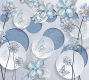T-076 Голубые цветы на кругах 300х270 Объемный
