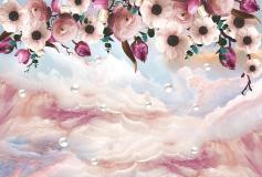 T-095 Жемчуг и розовые цветы 400х270 Объемный