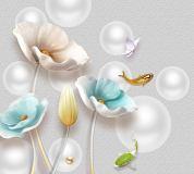 T-128 Керамические цветы на фоне шаров 300х270 Объемный