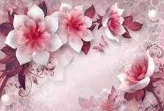 T-205 Розовые керамические цветы 400х270 Объемный