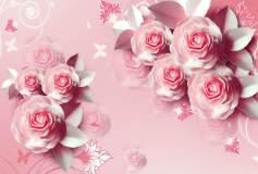 T-215 Крупные розовые розы 400х270 Объемный