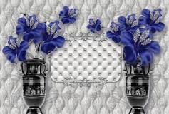 T-224 Синие цветы в вазах 400х270 Объемный