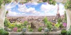 H-019 Вид с балкона на Париж 300х147 Окна - Балконы