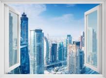 H-023 Окно с видом на дневной город 200х147 Окна - Балконы