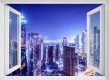 H-025 Окно с видом на ночной город 200х147 Окна - Балконы