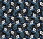 P-148 Тропические листья (голубой) 300х270 Произвольная стыковка по ширине