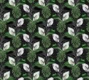 P-149 Тропические листья (зеленый) 300х270 Произвольная стыковка по ширине