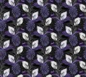 P-150 Тропические листья (фиолетовый) 300х270 Произвольная стыковка по ширине