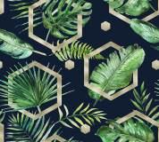 T-177 Пальмовые листья акварель 300х270 (повторяющиеся) Тропики