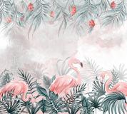 T-261 Фламинго в пальмовых листьях 300х270 Тропики