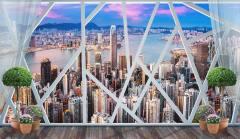18502_18503_Панорамное геометрическое окно Hong Kong Urban